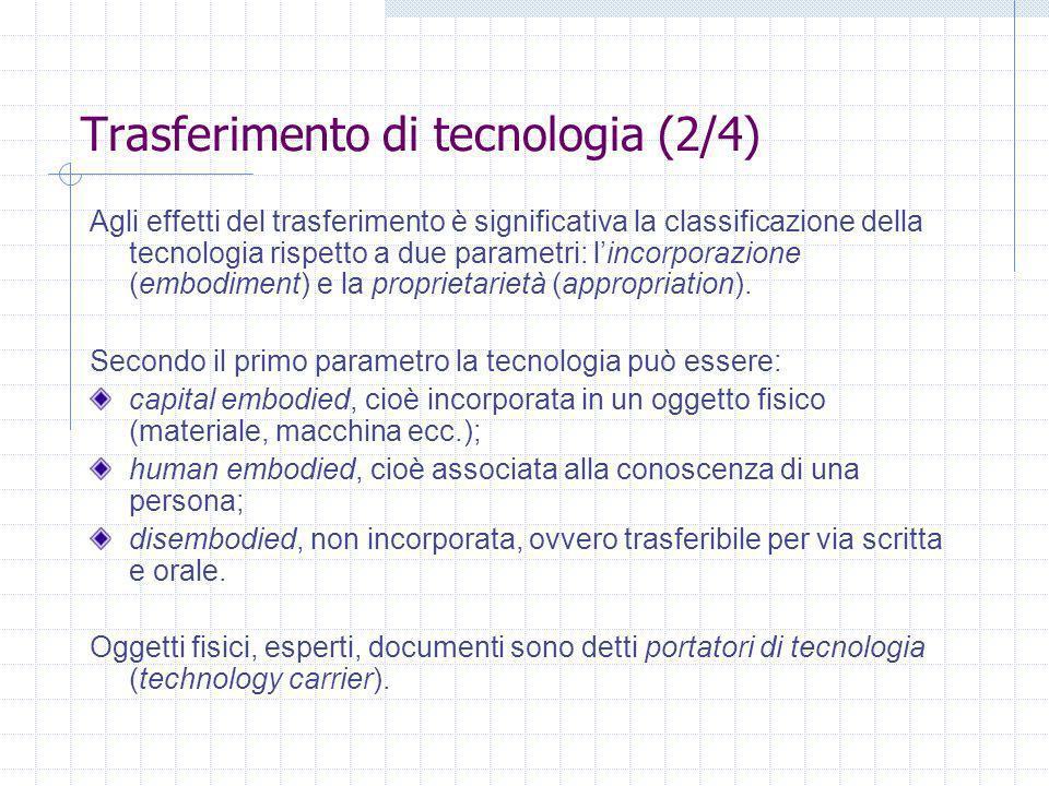 Trasferimento di tecnologia (2/4) Agli effetti del trasferimento è significativa la classificazione della tecnologia rispetto a due parametri: lincorporazione (embodiment) e la proprietarietà (appropriation).