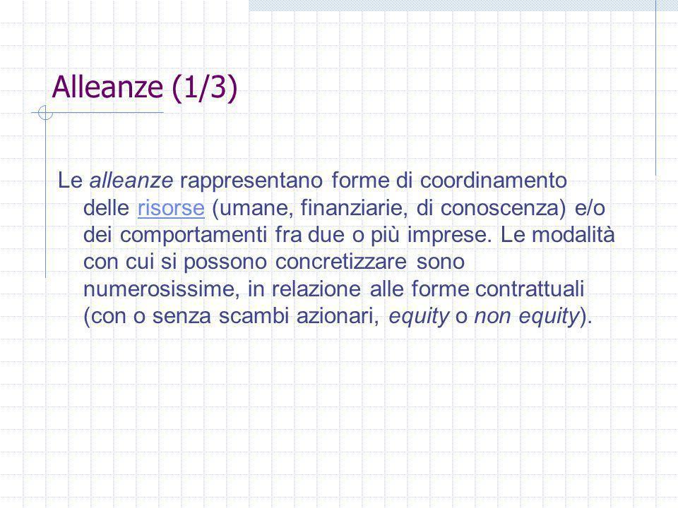 Alleanze (1/3) Le alleanze rappresentano forme di coordinamento delle risorse (umane, finanziarie, di conoscenza) e/o dei comportamenti fra due o più imprese.