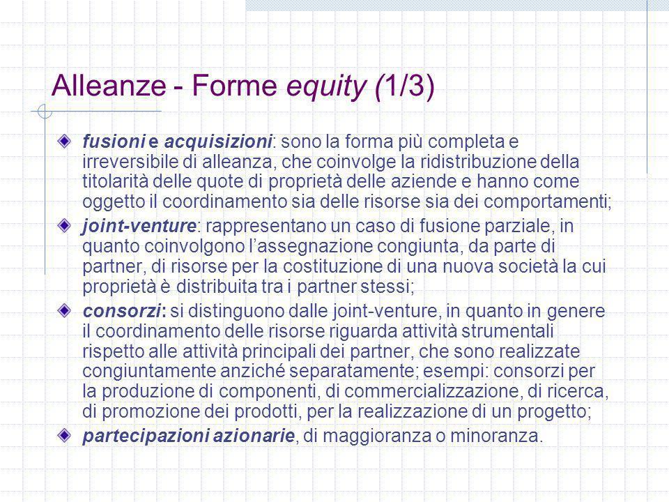 Alleanze - Forme equity (1/3) fusioni e acquisizioni: sono la forma più completa e irreversibile di alleanza, che coinvolge la ridistribuzione della titolarità delle quote di proprietà delle aziende e hanno come oggetto il coordinamento sia delle risorse sia dei comportamenti; joint-venture: rappresentano un caso di fusione parziale, in quanto coinvolgono lassegnazione congiunta, da parte di partner, di risorse per la costituzione di una nuova società la cui proprietà è distribuita tra i partner stessi; consorzi: si distinguono dalle joint-venture, in quanto in genere il coordinamento delle risorse riguarda attività strumentali rispetto alle attività principali dei partner, che sono realizzate congiuntamente anziché separatamente; esempi: consorzi per la produzione di componenti, di commercializzazione, di ricerca, di promozione dei prodotti, per la realizzazione di un progetto; partecipazioni azionarie, di maggioranza o minoranza.