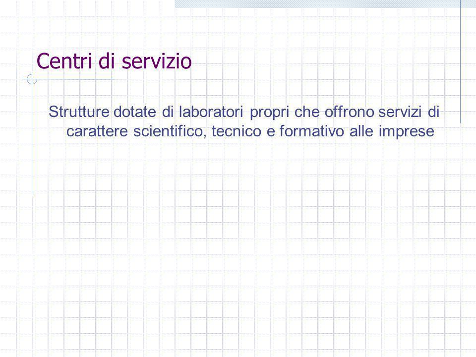 Centri di servizio Strutture dotate di laboratori propri che offrono servizi di carattere scientifico, tecnico e formativo alle imprese