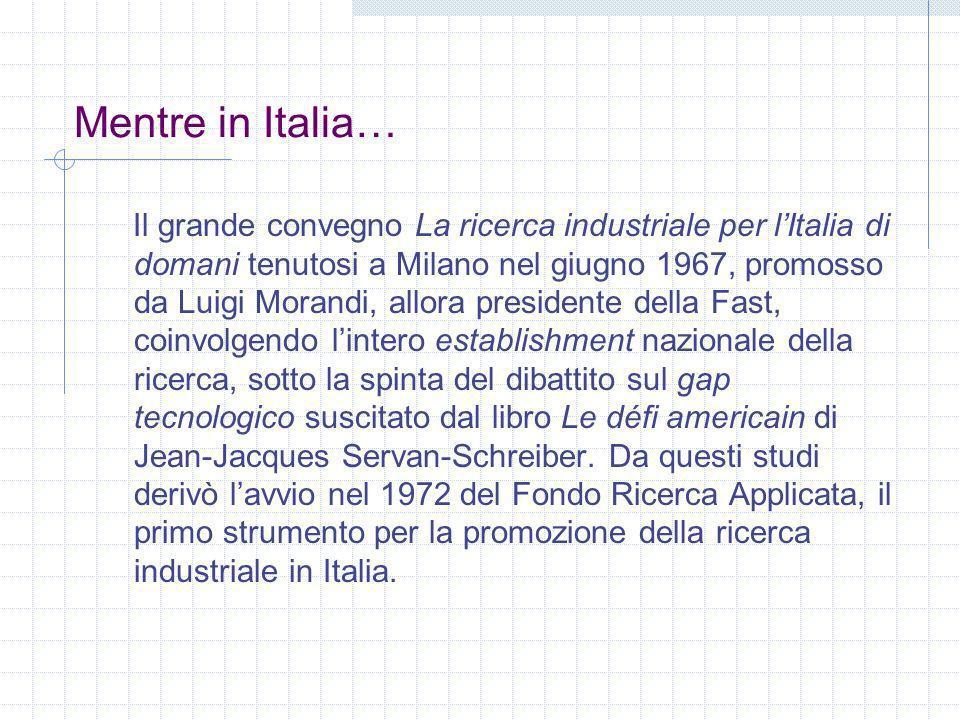Mentre in Italia… Il grande convegno La ricerca industriale per lItalia di domani tenutosi a Milano nel giugno 1967, promosso da Luigi Morandi, allora
