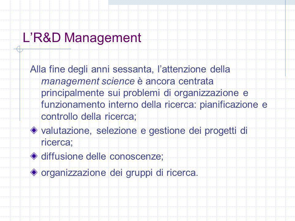 LR&D Management Alla fine degli anni sessanta, lattenzione della management science è ancora centrata principalmente sui problemi di organizzazione e funzionamento interno della ricerca: pianificazione e controllo della ricerca; valutazione, selezione e gestione dei progetti di ricerca; diffusione delle conoscenze; organizzazione dei gruppi di ricerca.