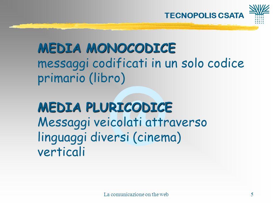 @ TECNOPOLIS CSATA La comunicazione on the web5 MEDIA MONOCODICE messaggi codificati in un solo codice primario (libro) MEDIA PLURICODICE Messaggi veicolati attraverso linguaggi diversi (cinema) verticali