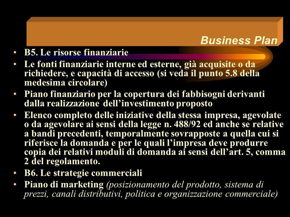 Business Plan B.4 Le prestazioni ambientali Breve commento in merito ai dati ed alle informazioni fornite ai punti da C2.1.1 a C2.2.5 della Scheda Tecnica allegata al Modulo di domanda (descrizione delle attività e delle iniziative assunte o che si intendono assumere, entro lesercizio successivo alla data di entrata a regime, in relazione ai quesiti da C2.1.1 a C2.1.5; documentazione che limpresa intende esibire a riscontro di quanto risposto a tali quesiti; valore della produzione espressa in miliardi di lire al quale sono riferiti i dati dei punti da C2.2.1 a C2.2.5; descrizione degli eventuali rifiuti speciali e/o pericolosi; indicazione delle fonti di approvvigionamento dellacqua di processo e dei relativi quantitativi; indicazione delle fonti energetiche adoperate o da adoperare e dei relativi quantitativi; indicazione dei criteri seguiti per la determinazione dei valori indicati)