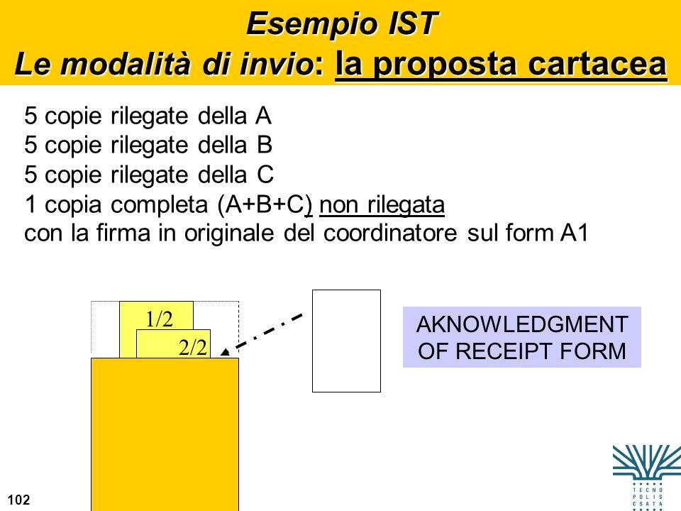 102 Esempio IST Le modalità di invio : la proposta cartacea 5 copie rilegate della A 5 copie rilegate della B 5 copie rilegate della C 1 copia complet