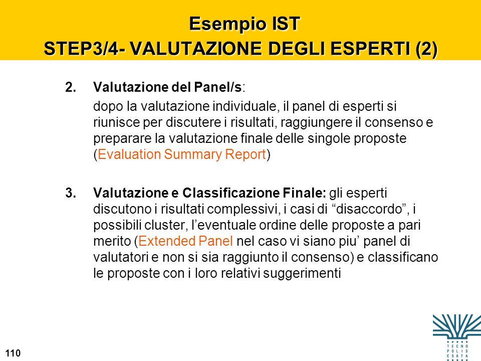 110 Esempio IST STEP3/4- VALUTAZIONE DEGLI ESPERTI (2) Esempio IST STEP3/4- VALUTAZIONE DEGLI ESPERTI (2) 2.Valutazione del Panel/s: dopo la valutazio