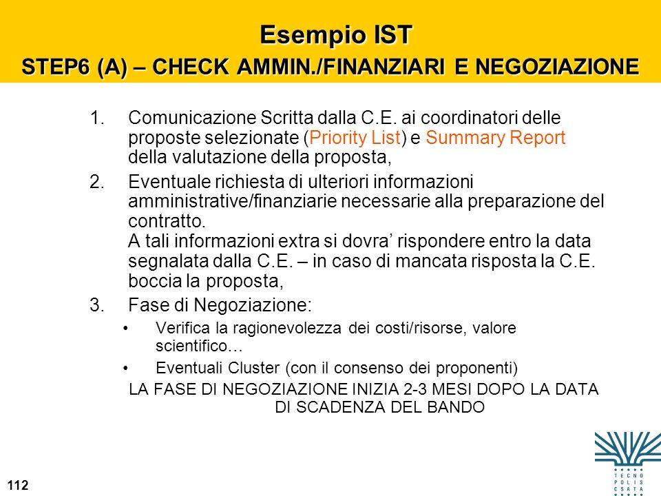 112 Esempio IST STEP6 (A) – CHECK AMMIN./FINANZIARI E NEGOZIAZIONE Esempio IST STEP6 (A) – CHECK AMMIN./FINANZIARI E NEGOZIAZIONE 1.Comunicazione Scri
