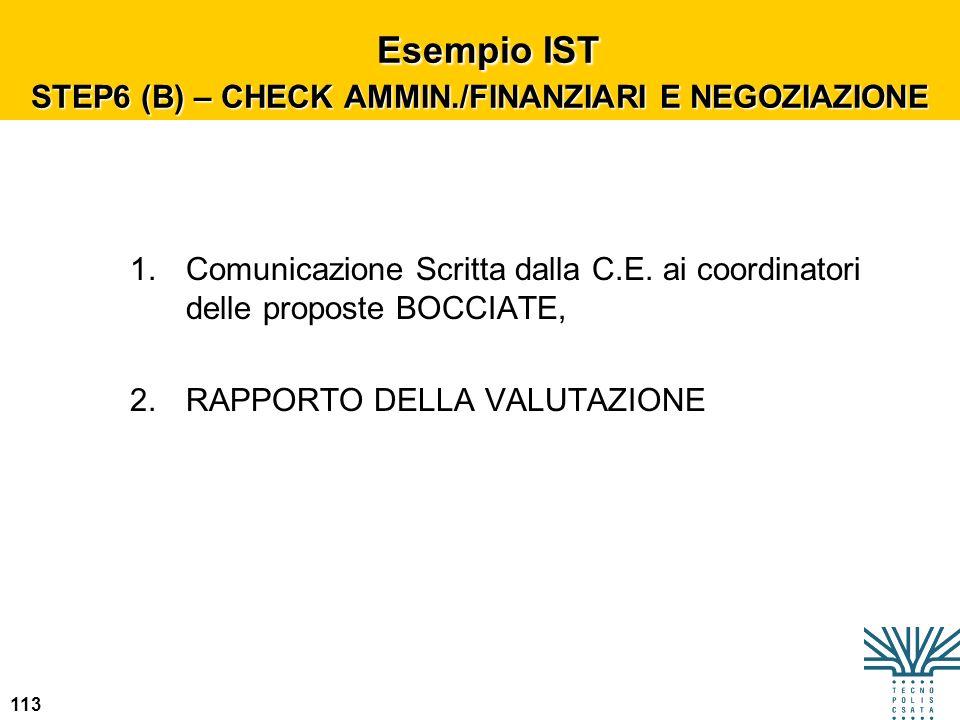 113 Esempio IST STEP6 (B) – CHECK AMMIN./FINANZIARI E NEGOZIAZIONE Esempio IST STEP6 (B) – CHECK AMMIN./FINANZIARI E NEGOZIAZIONE 1.Comunicazione Scri