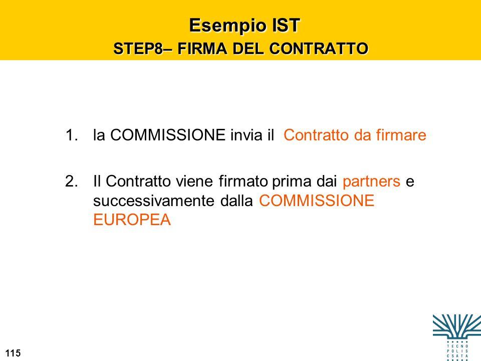 115 Esempio IST STEP8– FIRMA DEL CONTRATTO Esempio IST STEP8– FIRMA DEL CONTRATTO 1.la COMMISSIONE invia il Contratto da firmare 2.Il Contratto viene