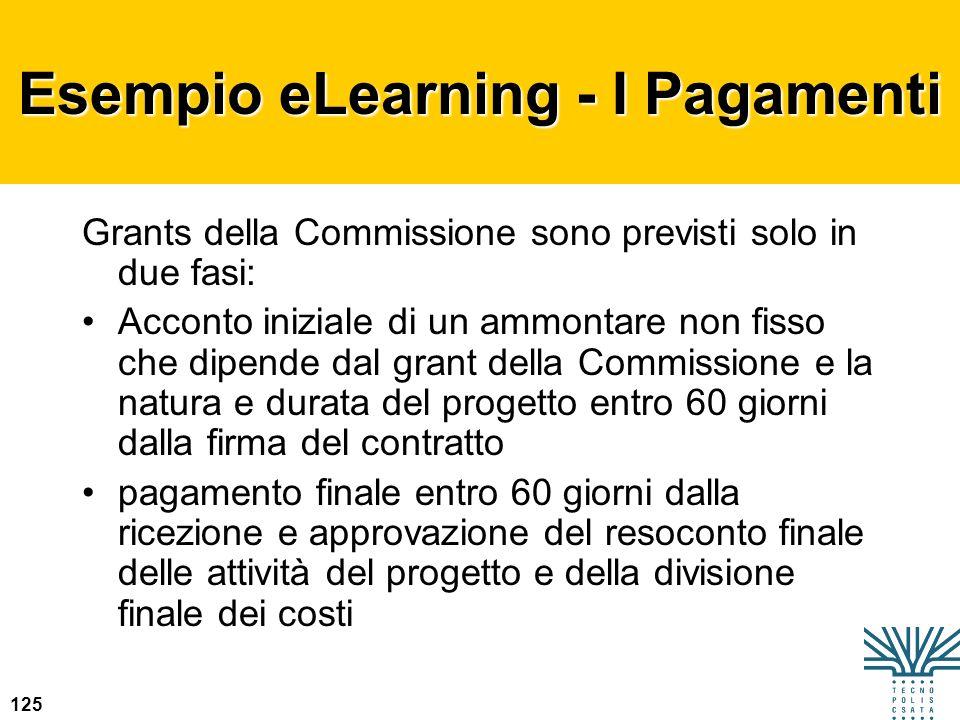 125 Esempio eLearning - I Pagamenti Grants della Commissione sono previsti solo in due fasi: Acconto iniziale di un ammontare non fisso che dipende da