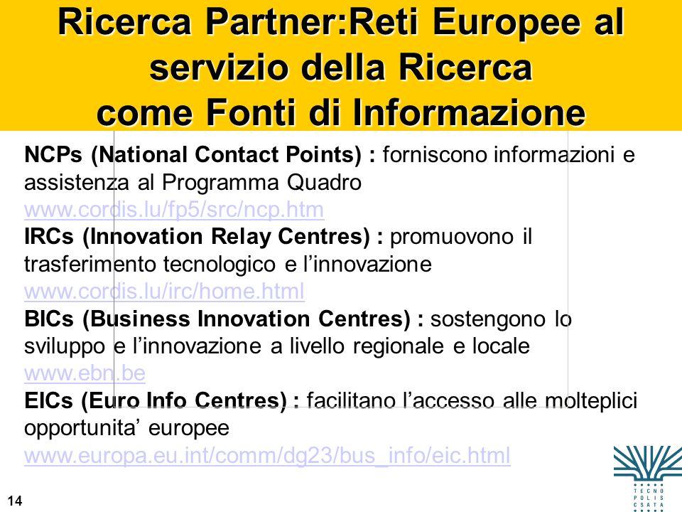 14 NCPs (National Contact Points) : forniscono informazioni e assistenza al Programma Quadro www.cordis.lu/fp5/src/ncp.htm IRCs (Innovation Relay Cent