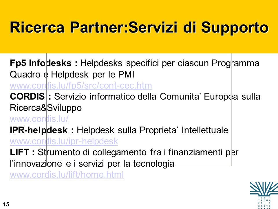 15 Fp5 Infodesks : Helpdesks specifici per ciascun Programma Quadro e Helpdesk per le PMI www.cordis.lu/fp5/src/cont-cec.htm CORDIS : Servizio informa