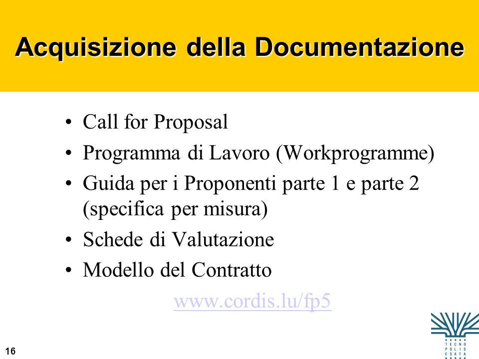 16 Acquisizione della Documentazione Call for Proposal Programma di Lavoro (Workprogramme) Guida per i Proponenti parte 1 e parte 2 (specifica per mis