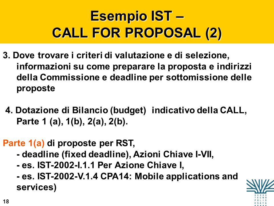 18 Esempio IST – CALL FOR PROPOSAL (2) 3. Dove trovare i criteri di valutazione e di selezione, informazioni su come preparare la proposta e indirizzi
