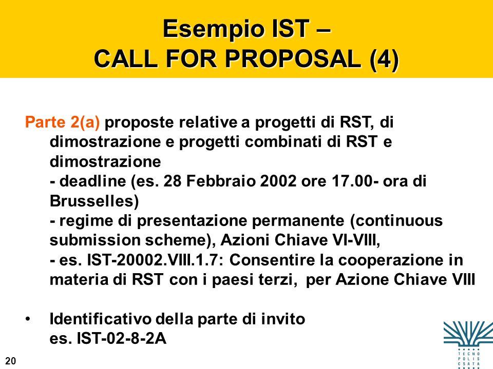 20 Esempio IST – CALL FOR PROPOSAL (4) Parte 2(a) proposte relative a progetti di RST, di dimostrazione e progetti combinati di RST e dimostrazione -