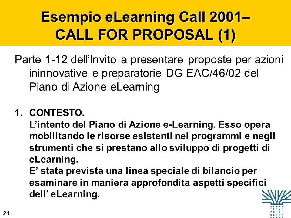24 Esempio eLearning Call 2001– CALL FOR PROPOSAL (1) Parte 1-12 dellInvito a presentare proposte per azioni ininnovative e preparatorie DG EAC/46/02