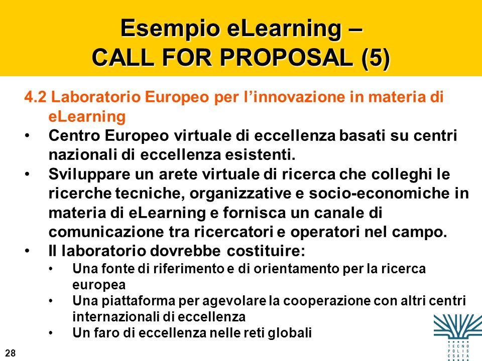 28 Esempio eLearning – CALL FOR PROPOSAL (5) 4.2 Laboratorio Europeo per linnovazione in materia di eLearning Centro Europeo virtuale di eccellenza ba