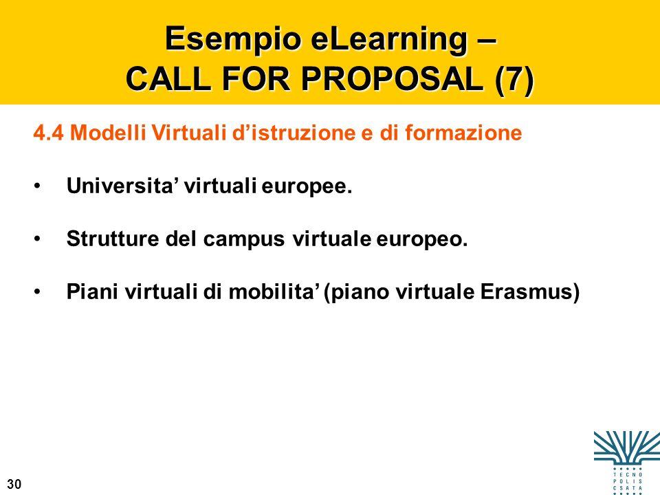 30 Esempio eLearning – CALL FOR PROPOSAL (7) 4.4 Modelli Virtuali distruzione e di formazione Universita virtuali europee. Strutture del campus virtua