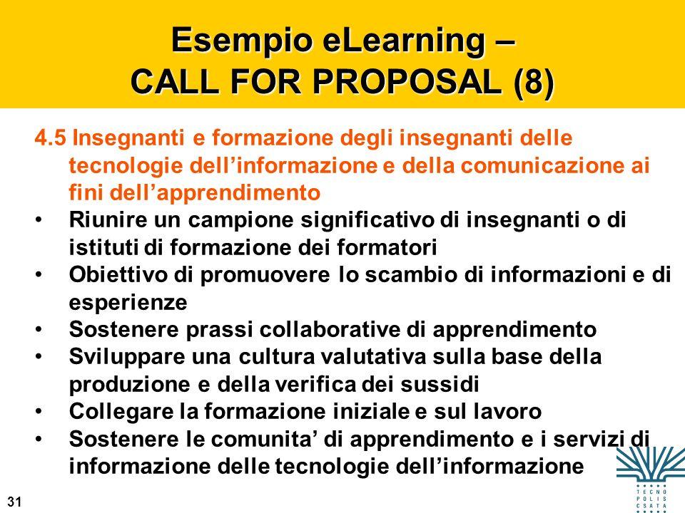 31 Esempio eLearning – CALL FOR PROPOSAL (8) 4.5 Insegnanti e formazione degli insegnanti delle tecnologie dellinformazione e della comunicazione ai f