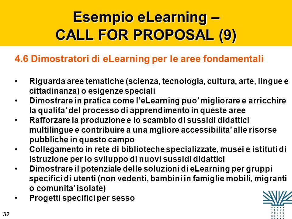 32 Esempio eLearning – CALL FOR PROPOSAL (9) 4.6 Dimostratori di eLearning per le aree fondamentali Riguarda aree tematiche (scienza, tecnologia, cult