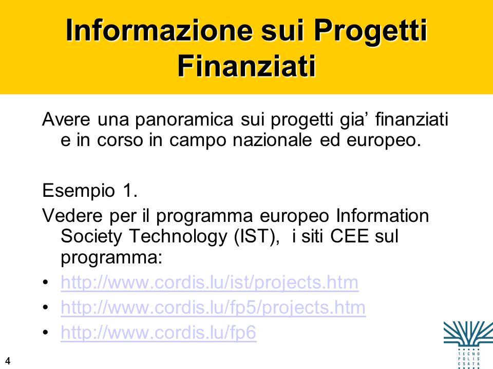 4 Informazione sui Progetti Finanziati Avere una panoramica sui progetti gia finanziati e in corso in campo nazionale ed europeo. Esempio 1. Vedere pe