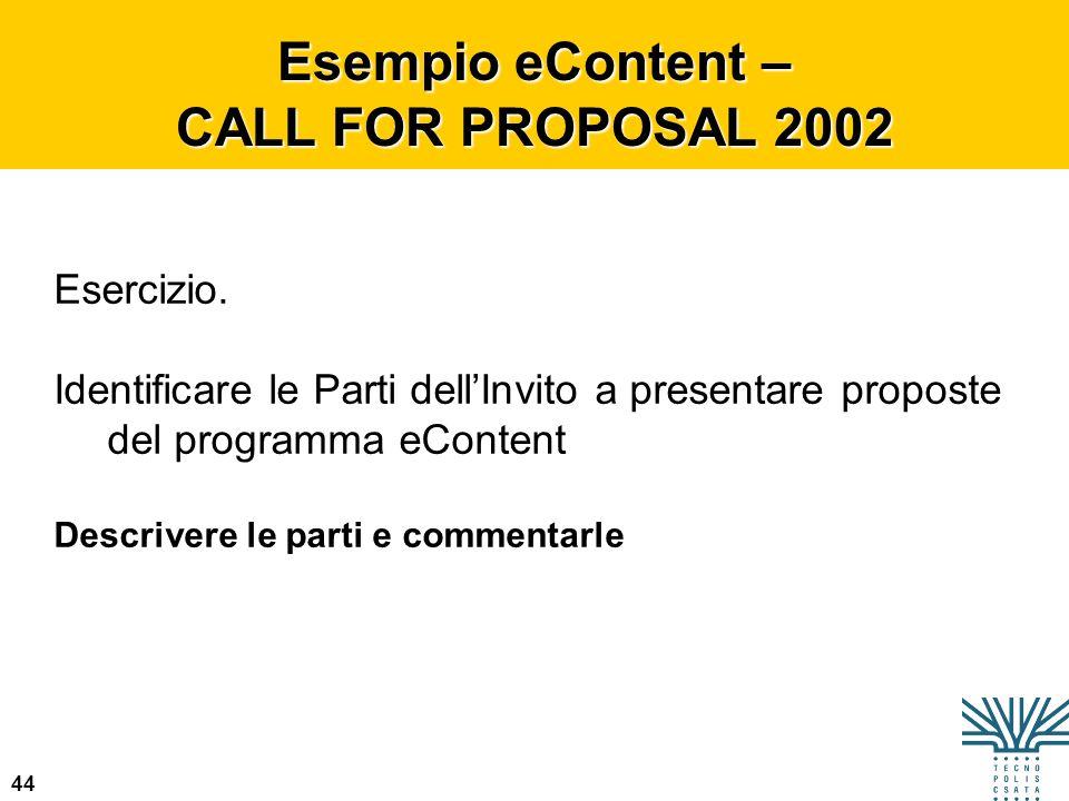 44 Esempio eContent – CALL FOR PROPOSAL 2002 Esercizio. Identificare le Parti dellInvito a presentare proposte del programma eContent Descrivere le pa
