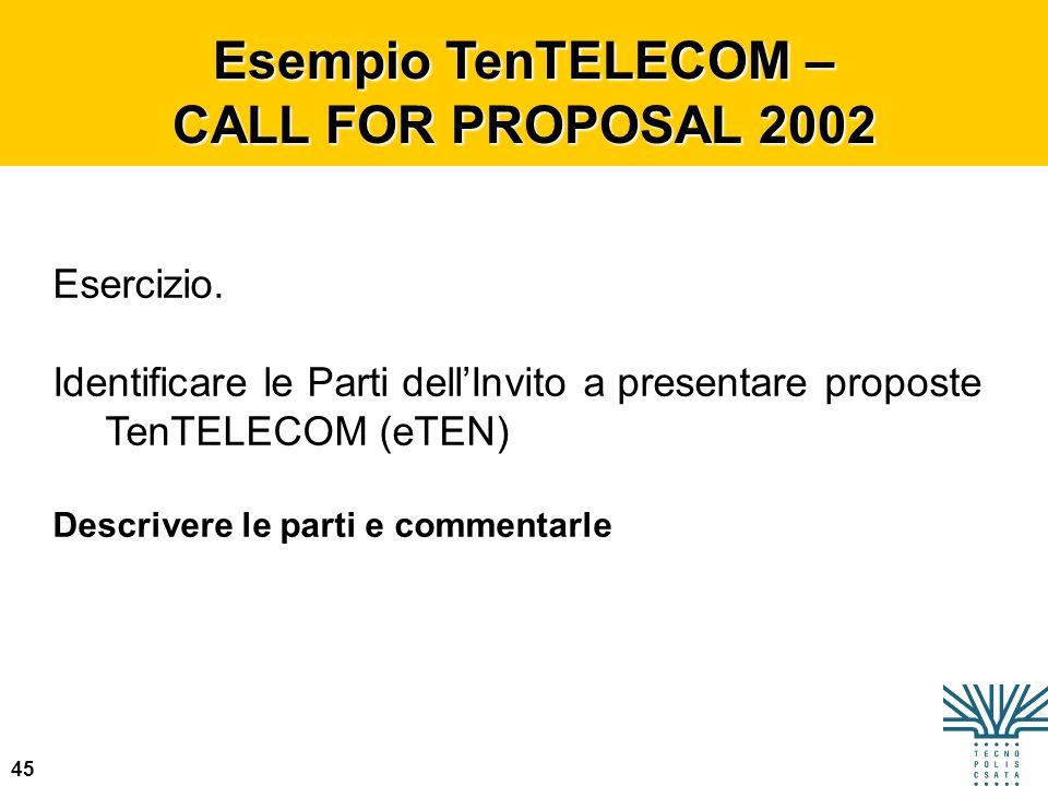 45 Esempio TenTELECOM – CALL FOR PROPOSAL 2002 Esercizio. Identificare le Parti dellInvito a presentare proposte TenTELECOM (eTEN) Descrivere le parti