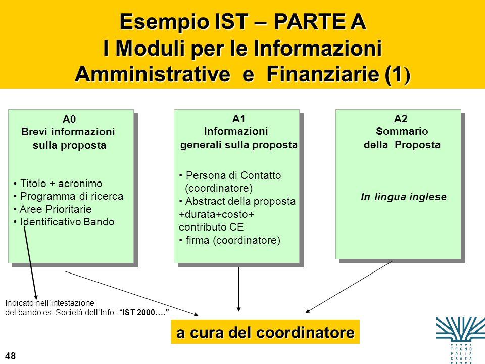 48 Esempio IST – PARTE A I Moduli per le Informazioni Amministrative e Finanziarie (1 ) A0 Brevi informazioni sulla proposta Titolo + acronimo Program