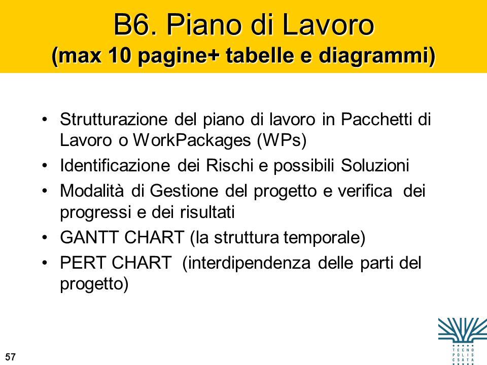 57 B6. Piano di Lavoro (max 10 pagine+ tabelle e diagrammi) Strutturazione del piano di lavoro in Pacchetti di Lavoro o WorkPackages (WPs) Identificaz