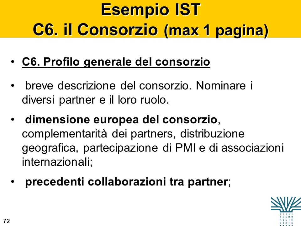 72 Esempio IST C6. il Consorzio (max 1 pagina) C6. Profilo generale del consorzio breve descrizione del consorzio. Nominare i diversi partner e il lor