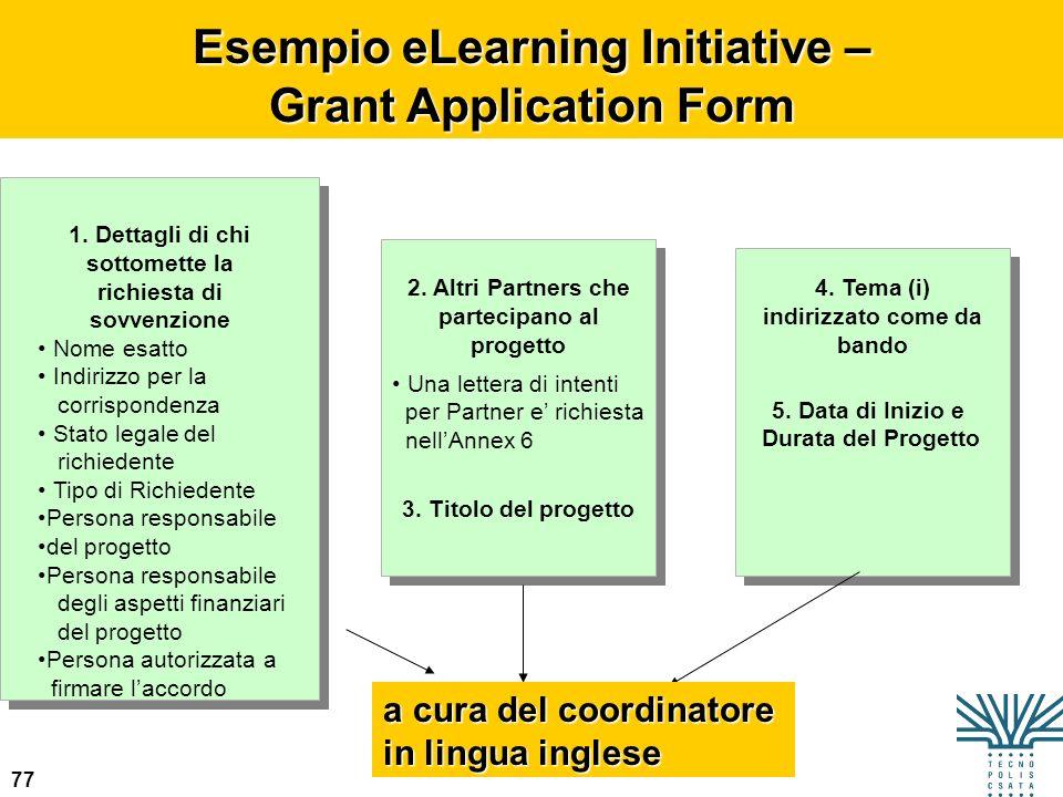 77 Esempio eLearning Initiative – Grant Application Form 1. Dettagli di chi sottomette la richiesta di sovvenzione Nome esatto Indirizzo per la corris