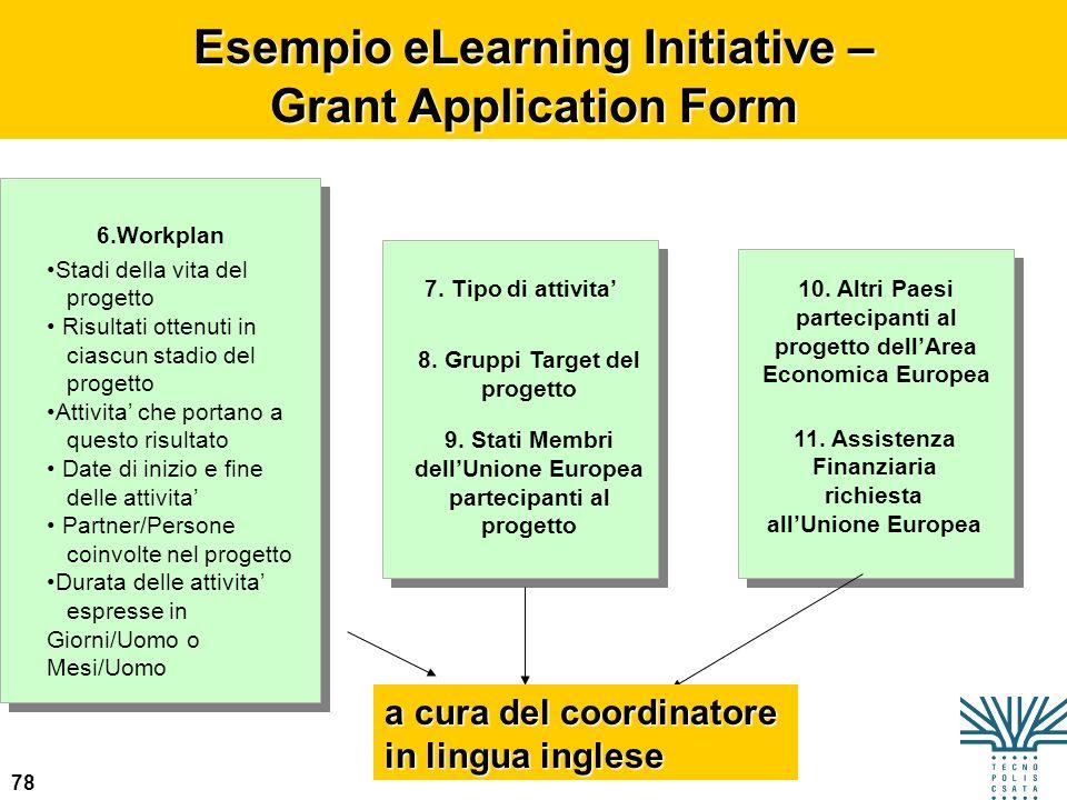 78 Esempio eLearning Initiative – Grant Application Form 6.Workplan Stadi della vita del progetto Risultati ottenuti in ciascun stadio del progetto At