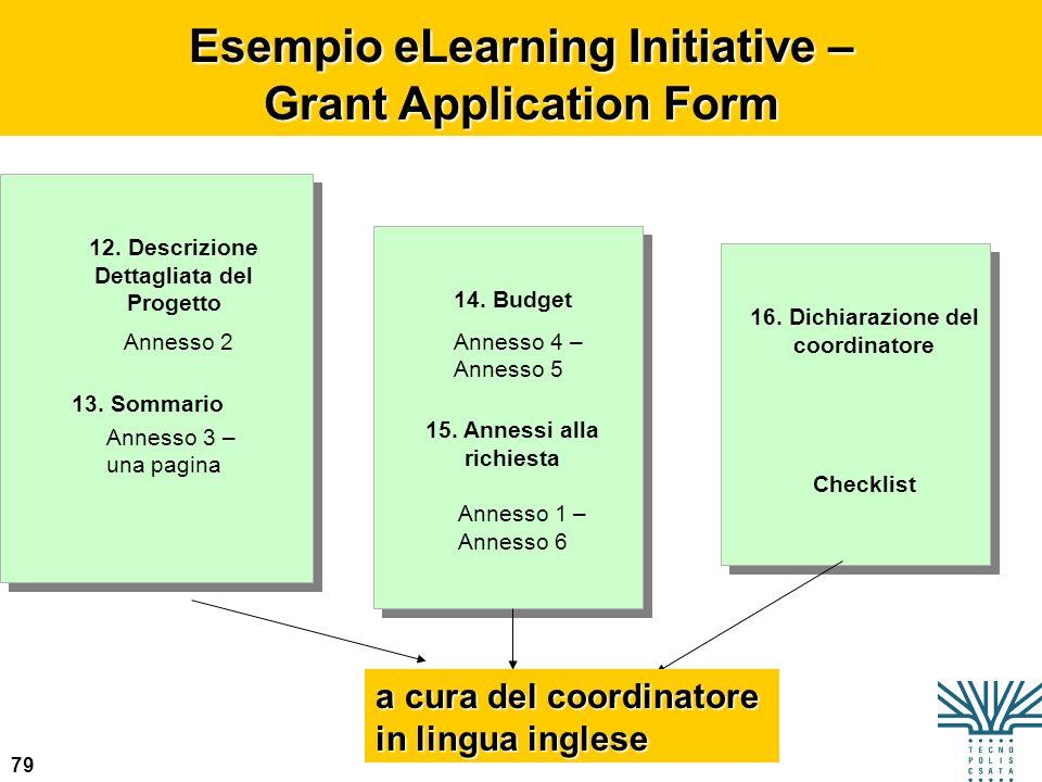 79 Esempio eLearning Initiative – Grant Application Form 13. Sommario Annesso 2 a cura del coordinatore in lingua inglese 12. Descrizione Dettagliata