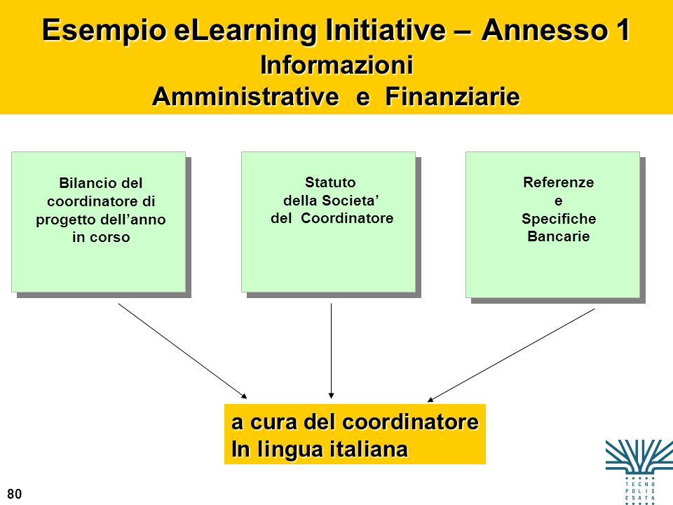 80 Esempio eLearning Initiative – Annesso 1 Informazioni Amministrative e Finanziarie Bilancio del coordinatore di progetto dellanno in corso Statuto