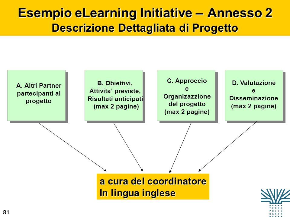 81 Esempio eLearning Initiative – Annesso 2 Descrizione Dettagliata di Progetto A. Altri Partner partecipanti al progetto B. Obiettivi, Attivita previ