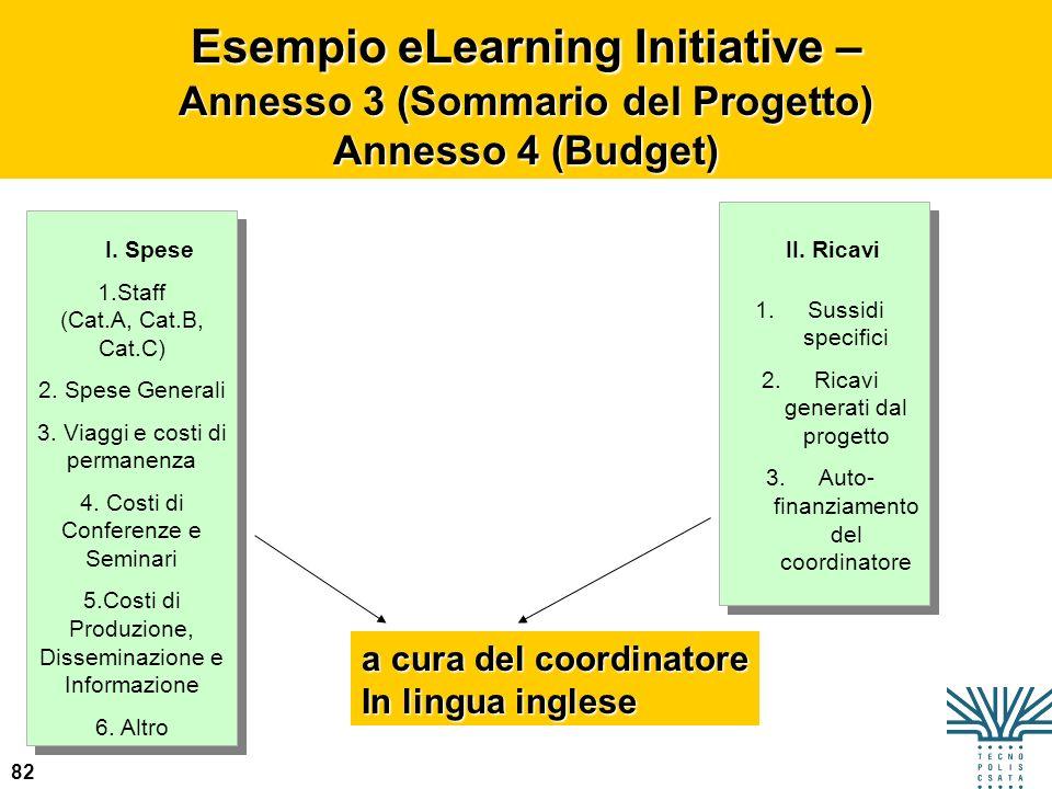 82 Esempio eLearning Initiative – Annesso 3 (Sommario del Progetto) Annesso 4 (Budget) I. SpeseII. Ricavi a cura del coordinatore In lingua inglese 1.