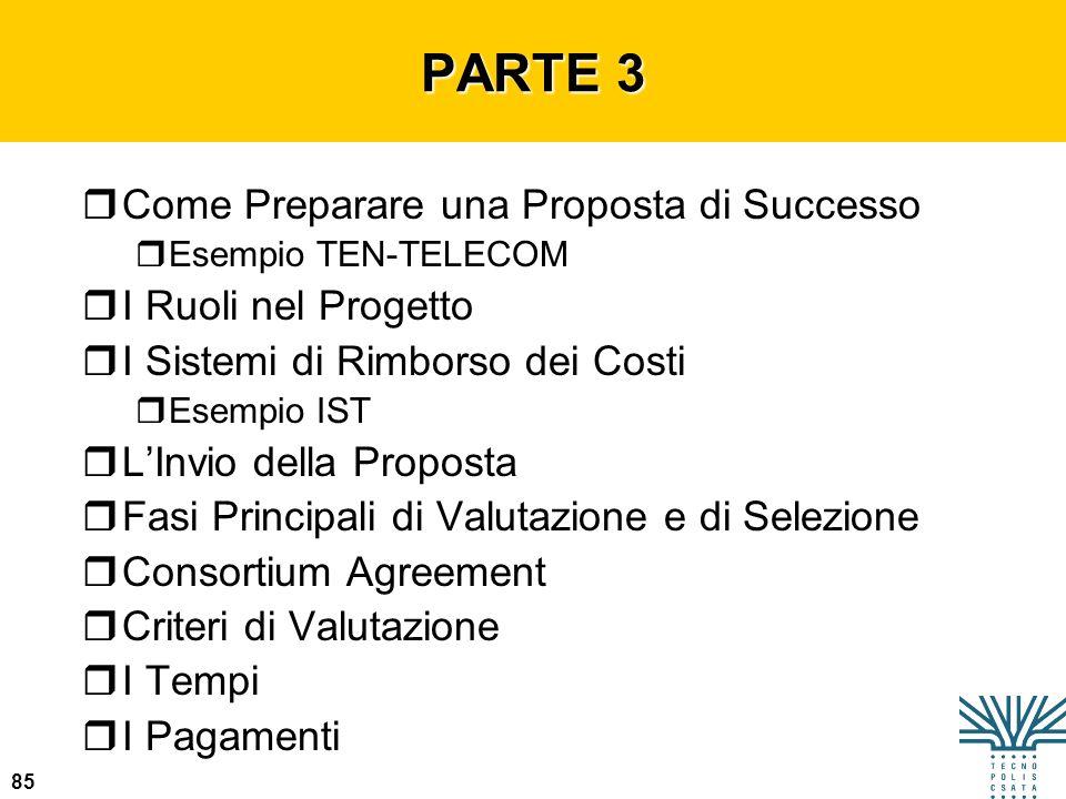 85 PARTE 3 rCome Preparare una Proposta di Successo rEsempio TEN-TELECOM rI Ruoli nel Progetto rI Sistemi di Rimborso dei Costi rEsempio IST rLInvio d