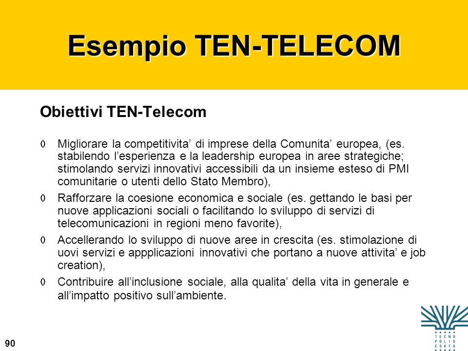 90 Esempio TEN-TELECOM Obiettivi TEN-Telecom Migliorare la competitivita di imprese della Comunita europea, (es. stabilendo lesperienza e la leadershi