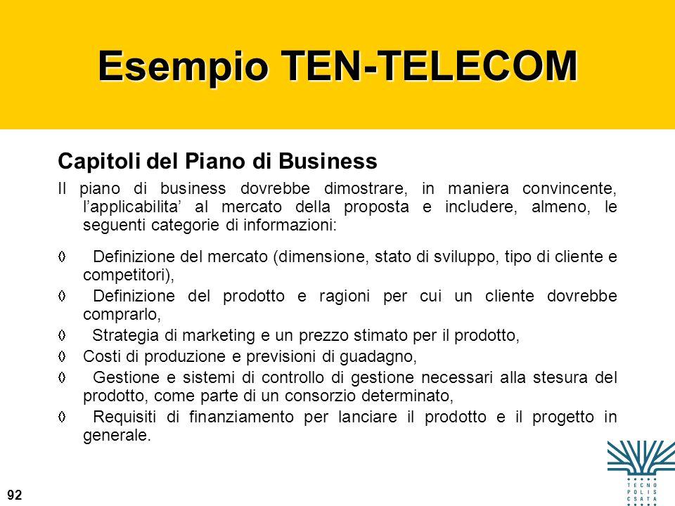 92 Esempio TEN-TELECOM Capitoli del Piano di Business Il piano di business dovrebbe dimostrare, in maniera convincente, lapplicabilita al mercato dell
