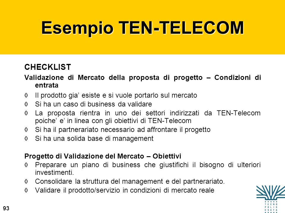 93 Esempio TEN-TELECOM CHECKLIST Validazione di Mercato della proposta di progetto – Condizioni di entrata Il prodotto gia esiste e si vuole portarlo