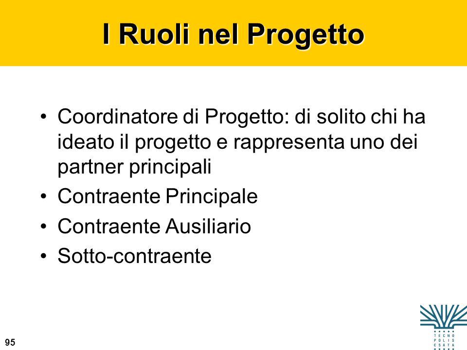 95 I Ruoli nel Progetto Coordinatore di Progetto: di solito chi ha ideato il progetto e rappresenta uno dei partner principali Contraente Principale C