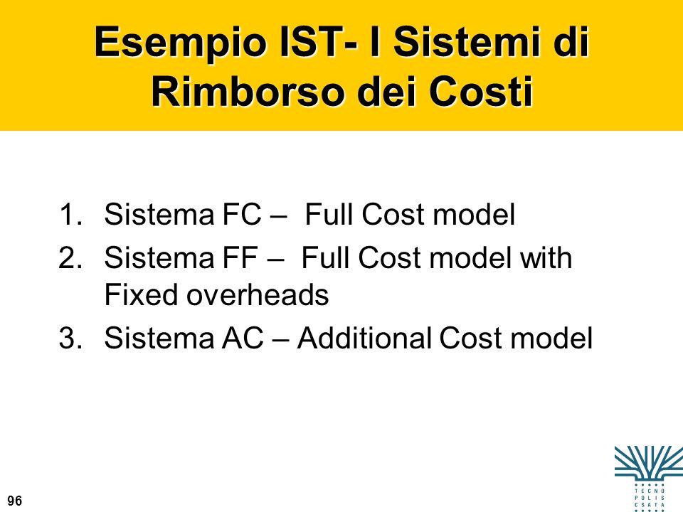 96 Esempio IST- I Sistemi di Rimborso dei Costi 1.Sistema FC – Full Cost model 2.Sistema FF – Full Cost model with Fixed overheads 3.Sistema AC – Addi