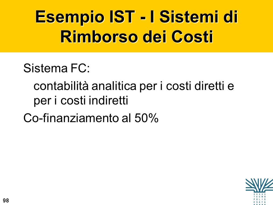 98 Esempio IST - I Sistemi di Rimborso dei Costi Sistema FC: contabilità analitica per i costi diretti e per i costi indiretti Co-finanziamento al 50%