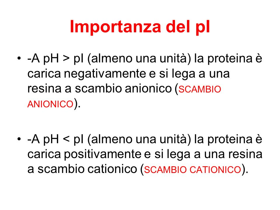 Importanza del pI -A pH > pI (almeno una unità) la proteina è carica negativamente e si lega a una resina a scambio anionico ( SCAMBIO ANIONICO ). -A