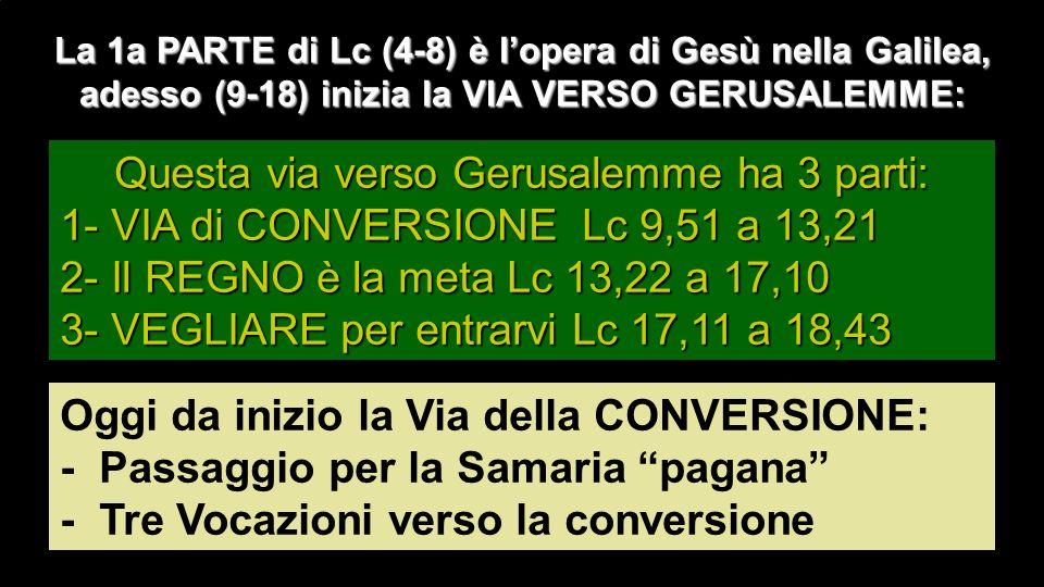 La 1a PARTE di Lc (4-8) è lopera di Gesù nella Galilea, adesso (9-18) inizia la VIA VERSO GERUSALEMME: Questa via verso Gerusalemme ha 3 parti: 1- VIA di CONVERSIONE Lc 9,51 a 13,21 2- Il REGNO è la meta Lc 13,22 a 17,10 3- VEGLIARE per entrarvi Lc 17,11 a 18,43 Oggi da inizio la Via della CONVERSIONE: - Passaggio per la Samaria pagana - Tre Vocazioni verso la conversione