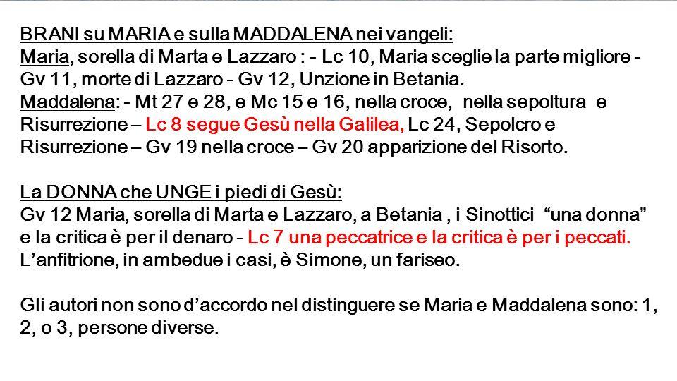 BRANI su MARIA e sulla MADDALENA nei vangeli: Maria, sorella di Marta e Lazzaro : - Lc 10, Maria sceglie la parte migliore - Gv 11, morte di Lazzaro - Gv 12, Unzione in Betania.