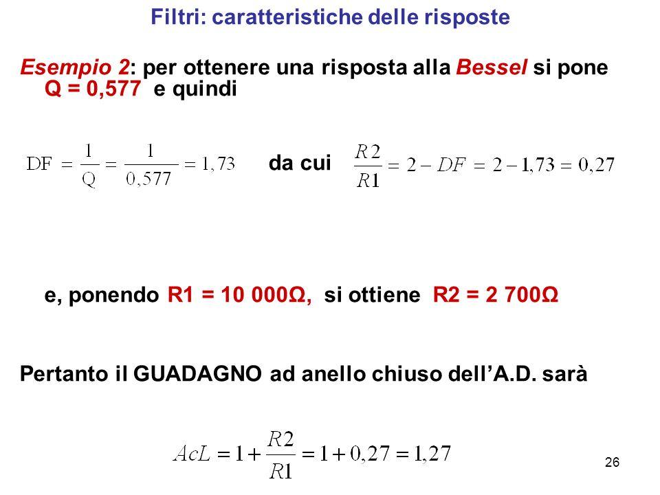 26 Filtri: caratteristiche delle risposte Esempio 2: per ottenere una risposta alla Bessel si pone Q = 0,577 e quindi da cui e, ponendo R1 = 10 000Ω,