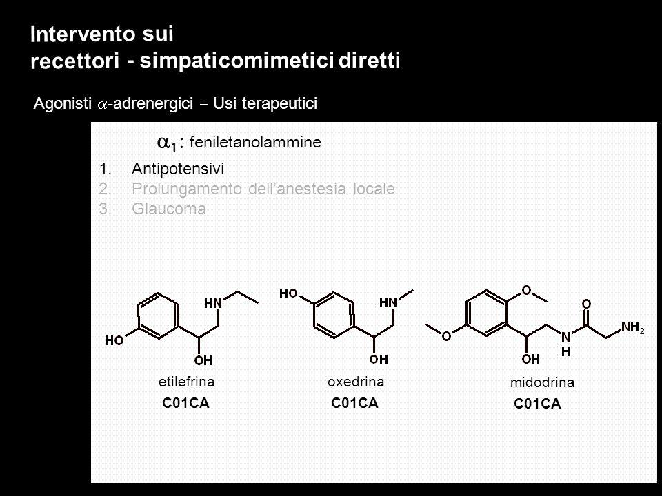 Agonisti -adrenergici Usi terapeutici Intervento sui recettori - simpaticomimetici diretti 1.Antipotensivi 2.Prolungamento dellanestesia locale 3.Glau