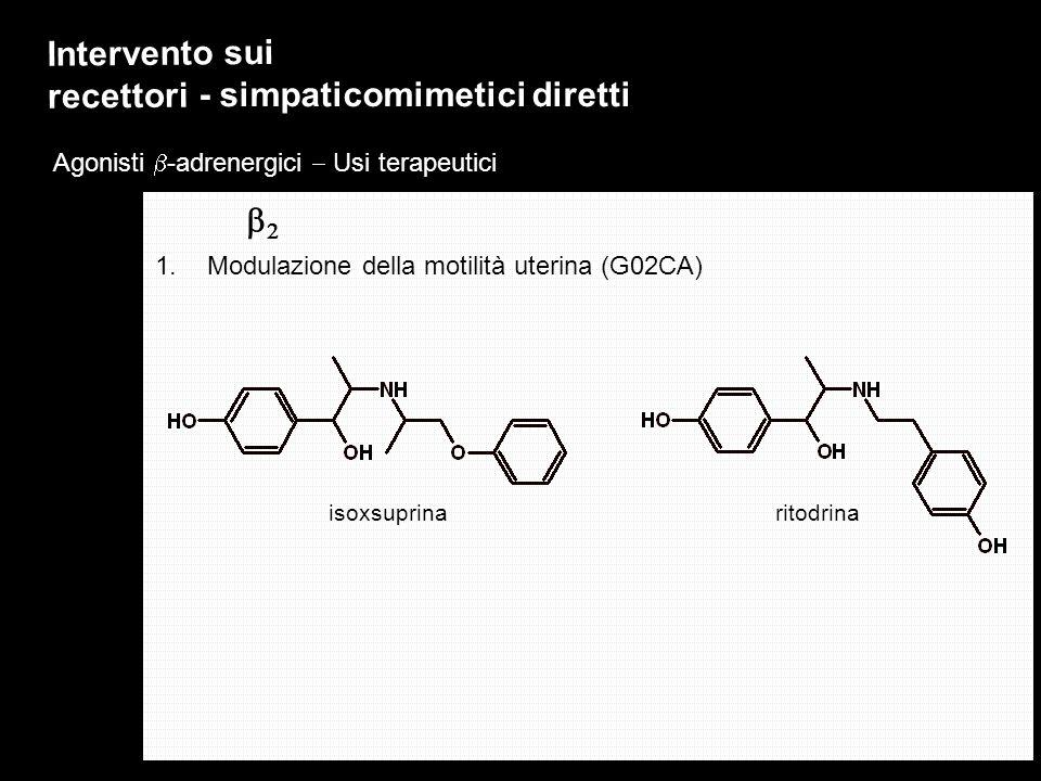 Agonisti -adrenergici Usi terapeutici Intervento sui recettori - simpaticomimetici diretti 1.Modulazione della motilità uterina (G02CA) isoxsuprinarit