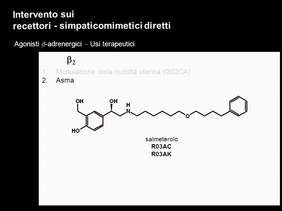 Agonisti -adrenergici Usi terapeutici Intervento sui recettori - simpaticomimetici diretti 1.Modulazione della motilità uterina (G02CA) 2.Asma salmete